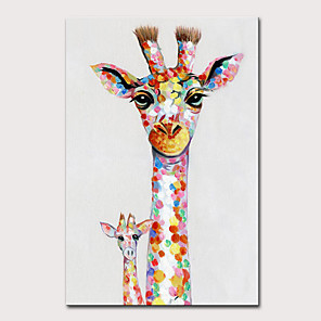 cheap Animal Paintings-Mintura Large Size Hand Painted Abstract Giraffe Animasl Oil Painting on Canvas Pop Art Modern Wall Picture For Home Decoration No Framed Rolled Without Frame
