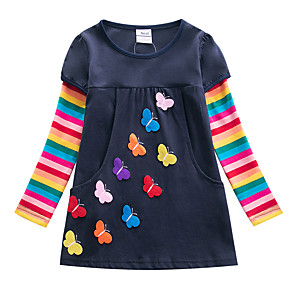 cheap Kids' Hats & Caps-Kids Girls' Flower Active Butterfly Striped Patchwork Jacquard Bow Embroidered Long Sleeve Knee-length Dress Fuchsia