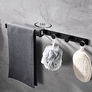 cheap Towel Bars-Multifunctional Rotating Towel Bar With 3 Rows Of Hooks Bathroom&Kitchen -1pc