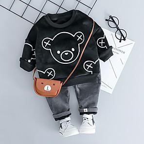 cheap Dog Clothes-Toddler Boys' Active Basic School Vacation Panda Striped Solid Colored Cartoon Print Drawstring Long Sleeve Regular Regular Clothing Set White