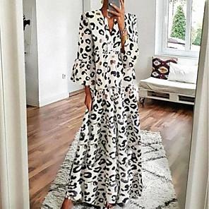 cheap Women's Sandals-Women's Swing Dress Maxi long Dress - 3/4 Length Sleeve Leopard Print Summer Fall V Neck Casual Daily Loose 2020 White Gray S M L XL XXL XXXL XXXXL XXXXXL