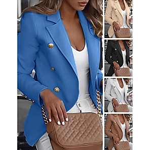 cheap Women's Sandals-Women's Double Breasted Notch lapel collar Blazer Regular Solid Colored Daily White Blue Khaki M L XL