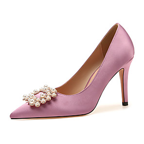 cheap Women's Heels-Women's Wedding Shoes Stiletto Heel Pointed Toe Classic Sexy Sweet Wedding Party & Evening Rhinestone Pearl Satin White / Pink