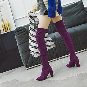 cheap Women's Boots-Women's Boots Wedge Heel Round Toe Basic Daily Solid Colored Nubuck PU Over The Knee Boots Leopard / Black / Purple