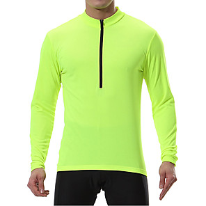 cheap Cycling Jerseys-Men's Long Sleeve Cycling Jersey Winter Polyester Black Blue Mint Green Bike Sweatshirt Jersey Top Mountain Bike MTB Road Bike Cycling Breathable Quick Dry Warm Sports Clothing Apparel / Stretchy