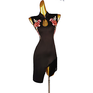 cheap Latin Dancewear-Latin Dance Dress Tassel Appliques Women's Training Sleeveless High Microfiber