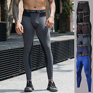 cheap Men's Running Tights & Leggings-YUERLIAN Men's Running Tights Leggings Compression Pants Athletic Base Layer Bottoms Patchwork Spandex Fitness Gym Workout Performance Running Training Breathable Quick Dry Moisture Wicking Sport