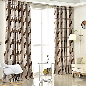 cheap Curtains Drapes-Two Panel European Style Striped Jacquard Blackout Curtains Living Room Bedroom Dining Room Children's Room Curtains