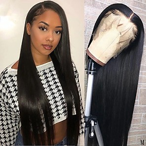 cheap Colored Hair Weaves-Remy Human Hair Lace Front Wig Free Part style Brazilian Hair Straight Natural Wig 150% Density Soft Women For Black Women Women's Long Human Hair Lace Wig