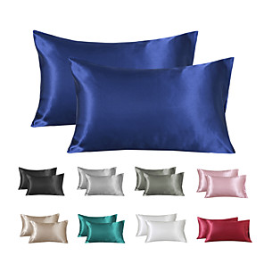 cheap Solid Duvet Covers-Satin Pillowcase for Hair and Skin 2 Pack Silky Satin Pillow Cases No Zipper Pillow Covers with Envelope Closure