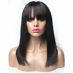 cheap Classical-Remy Human Hair Wig Long Natural Straight With Bangs Natural Black Party Fashion Comfortable Capless Women's Natural Black 16 inch