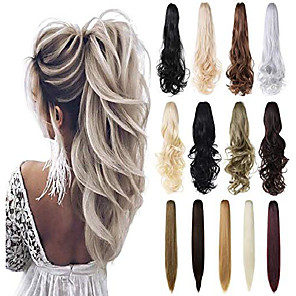 """cheap Hair Pieces-claw clip in ponytail hair extension 18"""" 21"""" 24""""curly wavy straight hairpiece one piece a jaw long pony tails for women& #40;medium brown 21""""-wavy& #41;"""