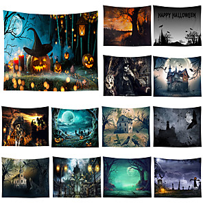 cheap Abstract Paintings-Halloween Wall Tapestry Art Decor Blanket Curtain Picnic Tablecloth Hanging Home Bedroom Living Room Dorm Decoration Psychedelic Skull Skeleton Pumpkin Bat Witch Haunted Scary Castle Polyester