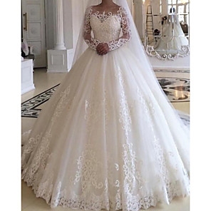 cheap Wedding Slips-Ball Gown Wedding Dresses Jewel Neck Court Train Lace Tulle Long Sleeve Formal with Appliques 2020