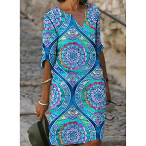 cheap Dog Clothes-Women's Shift Dress Knee Length Dress - Half Sleeve Floral Print Spring V Neck Casual 2020 Blue S M L XL XXL XXXL