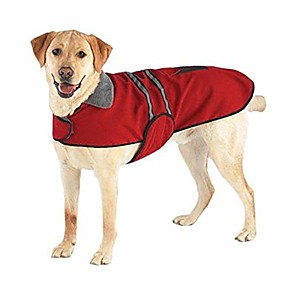 cheap Dog Collars, Harnesses & Leashes-fleece-lined reflective dog jacket for safety, red