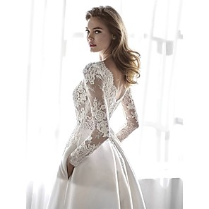 cheap Wedding Slips-A-Line Wedding Dresses Jewel Neck Chapel Train Lace Chiffon Over Satin Long Sleeve Formal Elegant with Lace Appliques 2020