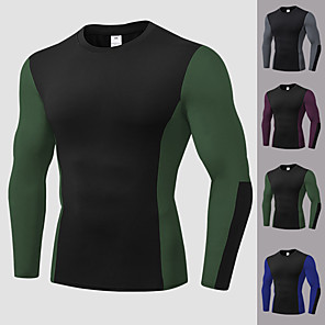 cheap Running & Jogging Clothing-YUERLIAN Men's Patchwork Compression Shirt Running Shirt Athletic Long Sleeve Spandex Breathable Quick Dry Soft Fitness Gym Workout Performance Running Training Sportswear Tee Tshirt Top Black / Red