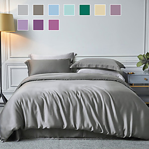 cheap Solid Duvet Covers-Duvet Cover Sets Rayon Solid Color Reactive Print Ultra Silky Soft/ 3 Piece Bedding Set With Pillowcase Bed Linen Sheet Single Double Queen King Size Quilt