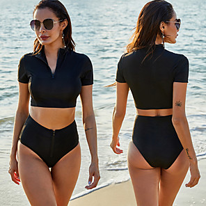 cheap Women's Wetsuits-Women's Rashguard Swimsuit Spandex Swimwear UV Sun Protection Quick Dry Stretchy Short Sleeve Front Zip - Swimming Surfing Snorkeling Solid Colored Summer