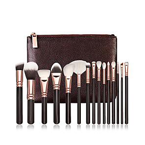cheap Makeup Brush Sets-Professional 15 Pcs Natural Hair Makeup Brush Sets Wooden Handle Natural Soft Hair Professional Makeup Brushes