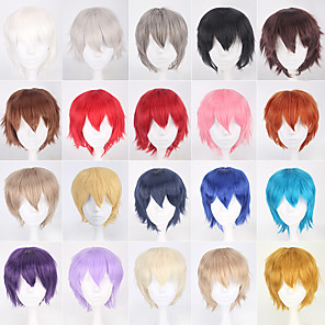 cheap Costume Wigs-Cosplay Costume Wig Synthetic Wig Curly Water Wave Asymmetrical Wig Short A15 A16 A17 A18 A19 Synthetic Hair 8 inch Men's Anime New Arrival Comfortable Red