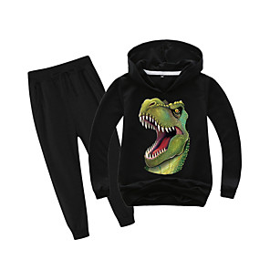 cheap Boys' Clothing Sets-Kids Boys' Sports & Outdoors Basic Holiday Daily Wear Vacation Dinosaur Print Print Long Sleeve Regular Regular Clothing Set Black