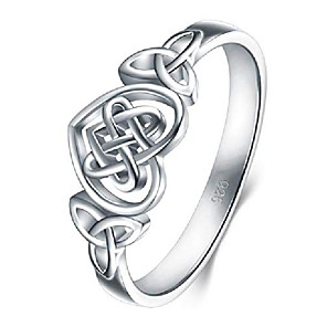 cheap Necklaces-925 sterling silver ring celtic knot heart high polish tarnish resistant eternity wedding band stackable ring size 10