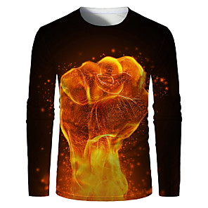 cheap LED Strip Lights-Men's Plus Size T-shirt Graphic Print Long Sleeve Tops Basic Round Neck Orange / Sports