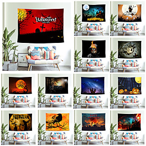 cheap Abstract Paintings-Halloween Party Wall Tapestry Art Decor Blanket Curtain Picnic Tablecloth Hanging Home Bedroom Living Room Dorm Decoration Pychedelic kull keleton Pumpkin Bat Witch Haunted cary Catle Polyeter 13 Kind