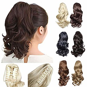 """cheap Hair Pieces-12"""" short curly claw ponytail extension clip in on hairpiece with jaw/claw synthetic fluffy pony tail one piece& #40;12""""curly,light brown& #41;"""