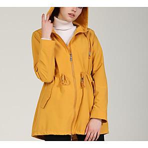 olcso Szélvédő, polár és hegymászó kabátok-Női Kosaras Parka Egyszínű Nejlon Fekete / Sárga S / M / L / Sovány