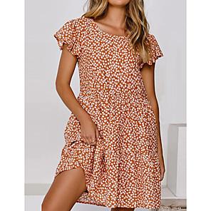 cheap Abstract Paintings-Women's A-Line Dress Short Mini Dress - Short Sleeves Floral Summer Work 2020 Orange Dusty Blue S M L XL