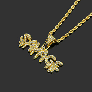 cheap Pendant Necklaces-Men's White AAA Cubic Zirconia Lockets Necklace Cuban Link Letter Hip Hop Alloy Gold Silver 60 cm Necklace Jewelry 1pc For Sport Street