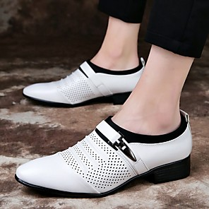 cheap Women's Sandals-Men's Summer / Fall Business / Vintage / British Office & Career Loafers & Slip-Ons Nappa Leather Breathable Wear Proof White / Black