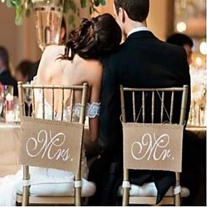 cheap Wedding Decorations-Mr Mrs linen flag Christmas Wedding Armchair Decoration