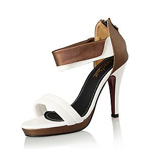 cheap Women's Sandals-Women's Sandals Pumps Open Toe Party & Evening Office & Career Leather Microfiber White / Black