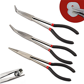 cheap Other Hand Tools-3 Pcs 11 Inch Extra Long Nose Pliers Set Straight and Bent Tip Mechanic Grip Hand Tool
