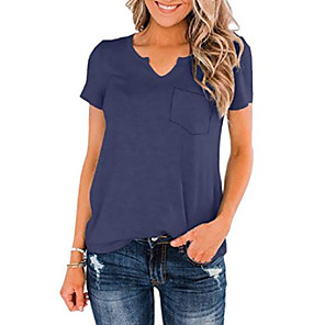 cheap Hair Jewelry-womens summer v neck short sleeve basic tees loose casual t-shirts tops with pocket blue