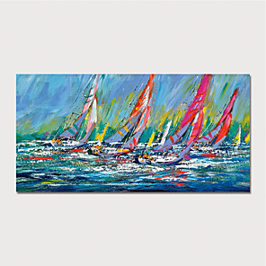 cheap Abstract Paintings-Hand Painted Canvas Oil Painting Abstract Boats Home Decoration With Frame Painting Ready To Hang With Stretched Frame