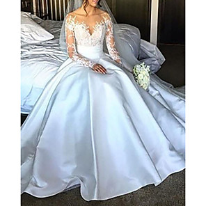 cheap Wedding Slips-Ball Gown Wedding Dresses Off Shoulder Court Train Lace Satin Long Sleeve Formal with Bow(s) Ruched 2020