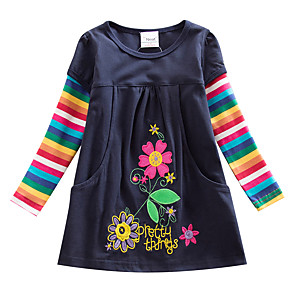 tanie Zestawy ubrań dla dziewczynek-Dzieci Dla dziewczynek Kwiat Aktywny Niebieski Prążki Tęczowy Haft Długi rękaw Do kolan Sukienka Granatowy