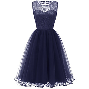cheap Historical & Vintage Costumes-Women's A-Line Dress Knee Length Dress - Sleeveless Solid Color Lace Mesh Patchwork Summer Sexy Party Slim 2020 Blushing Pink Wine Navy Blue S M L XL XXL