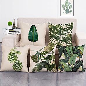 cheap Cushion Covers-1 Set of 5 Pcs Green Leaf Botanical Series Throw Pillow Covers Modern Decorative Throw Pillow Case Cushion Case for Room Bedroom Room Sofa Chair Car,18*18 Inch 45*45cm