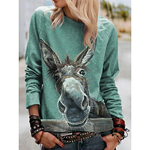 cheap Necklaces-Women's Blouse Graphic Prints Long Sleeve Print Round Neck Tops Loose Basic Basic Top Green
