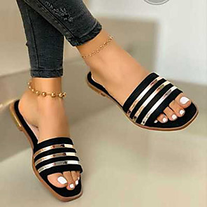 cheap Women's Flats-Women's Slippers & Flip-Flops Flat Heel Open Toe Casual Daily Sequin Solid Colored PVC Black / Pink / Khaki