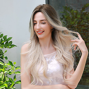 cheap Synthetic Trendy Wigs-Synthetic Wig Ombre Cosplay Wig Curly Body Wave Middle Part Side Part Wig Very Long Medium Brown / Bleached Blonde Ombre Blonde Synthetic Hair 26 inch Women's Cosplay Fashion Ombre Hair Blonde Ombre