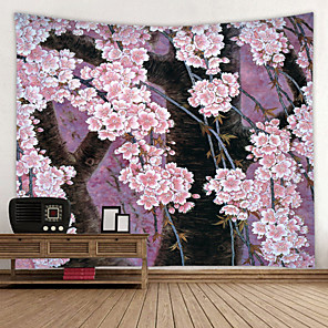 cheap Wall Murals-Beautiful Peach Blossom Digital Printed Tapestry Decor Wall Art Tablecloths Bedspread Picnic Blanket Beach Throw Tapestries Colorful Bedroom Hall Dorm Living Room Hanging