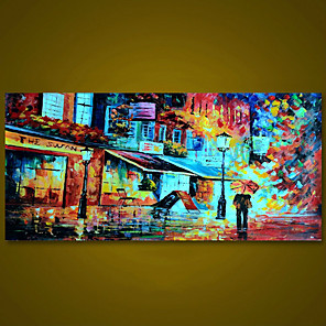 cheap Abstract Paintings-Unframed Panel Walking In Rain Abstract Modern Wall Art Canvas Hand Painted Oil Painting Picture For Living Room Home Wall Decor Rolled Without Frame