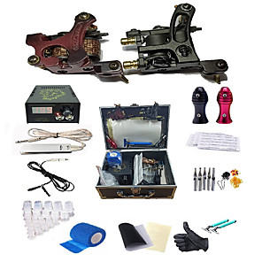 cheap Professional Tattoo Kits-Complete Tattoo Kit 2pcs Coil Tattoo Machine Tattoo GunsPower Supply 25 Needles Tips Grips Travel Case Tattoo Supplies for Tattoo Artists